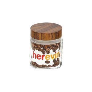 Pote-quadrado-de-vidro-Lyor-Wood-com-tampa-marron-1-litro-transparente