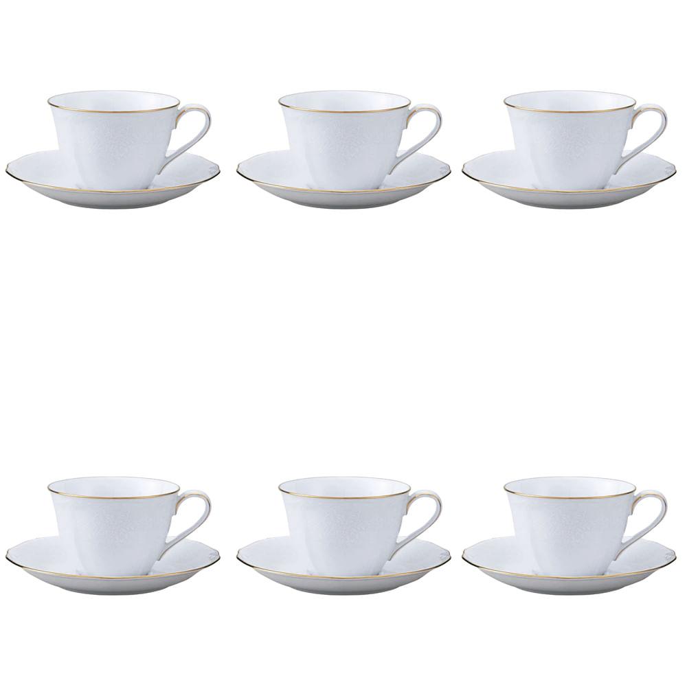 Jogo de xícaras para café Noritake princess bouquet 6 peças