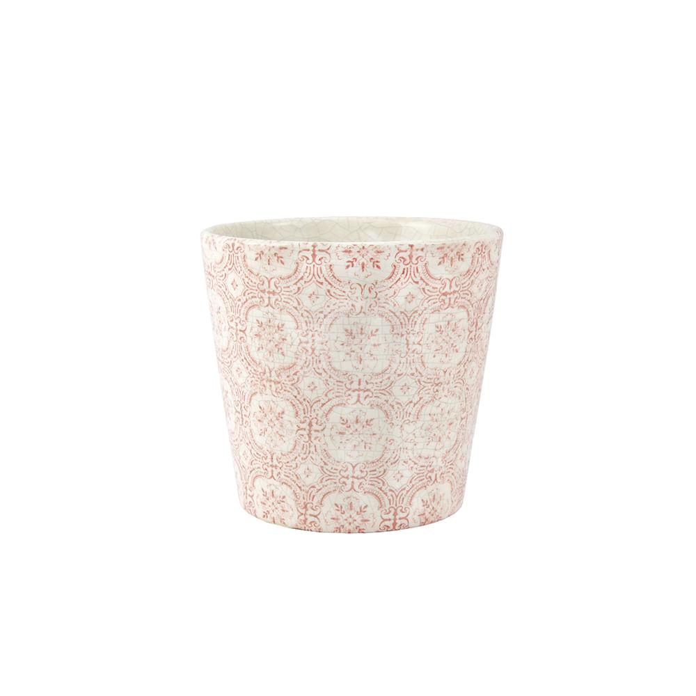 Cachepot em cerâmica Mart 13,5x14cm branco e vermelho