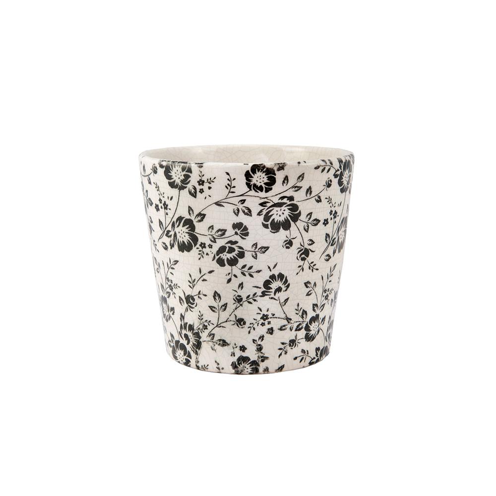 Cachepot em cerâmica Mart 16,5x18cm branco e preto