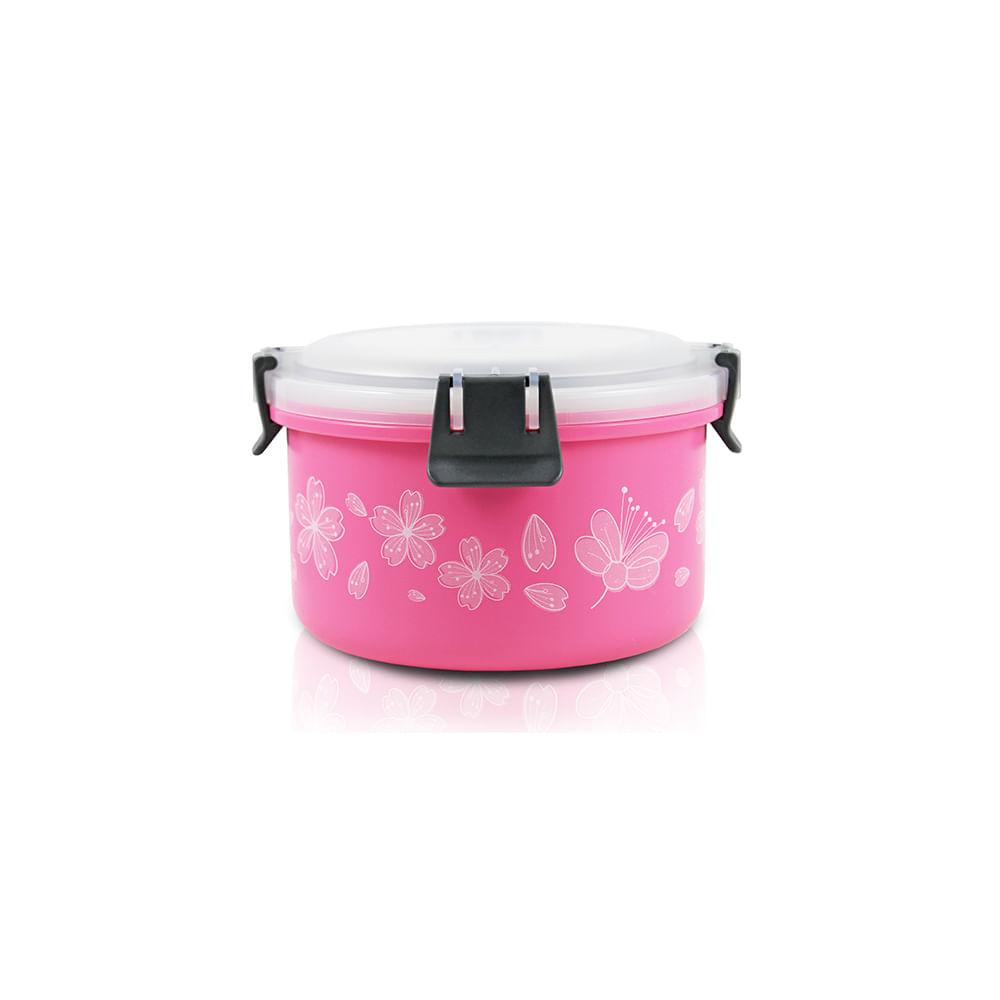 Pote para marmita de inox Jacki Design 1100ml rosa