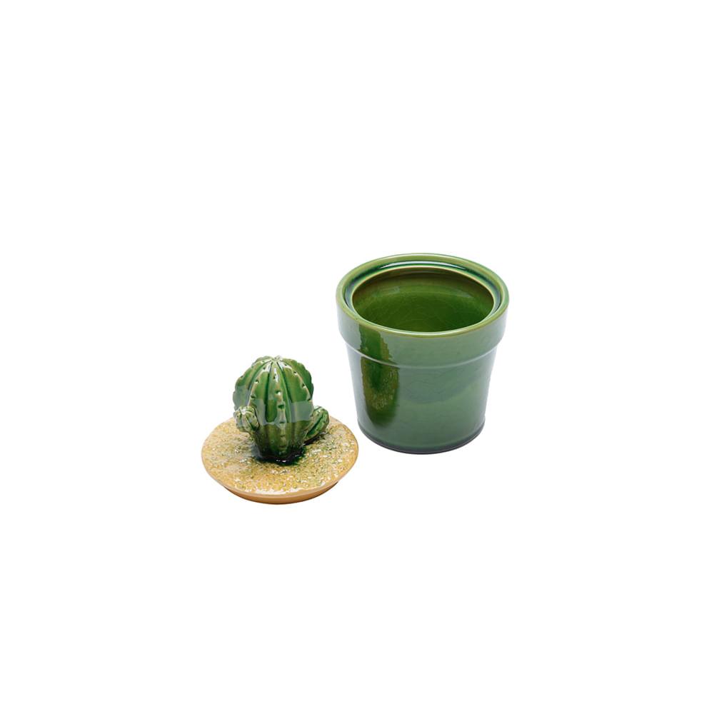 Pote de cerâmica para decoração Lyor cactos 13,2x18,8cm verde