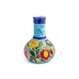 Vaso-genie-com-flores-em-ceramica-Carbo-Import-27x40cm-turquesa