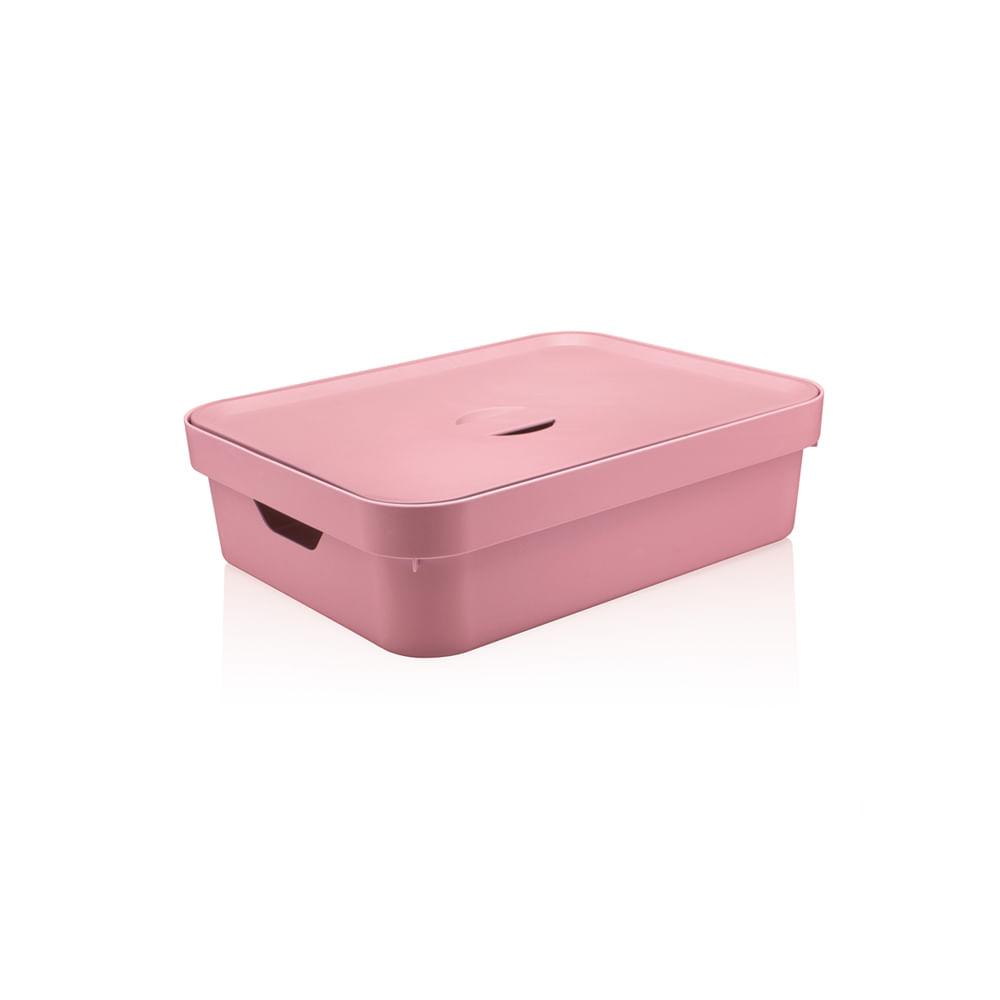 Caixa organizadora baixa com tampa Ou Cube tamanho G rosa