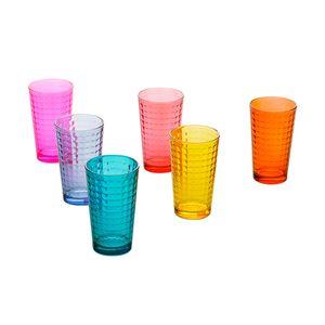 Jogo-de-copos-em-vidro-Lyor-Xadrez-colorido-325ml-6-pecas-9746