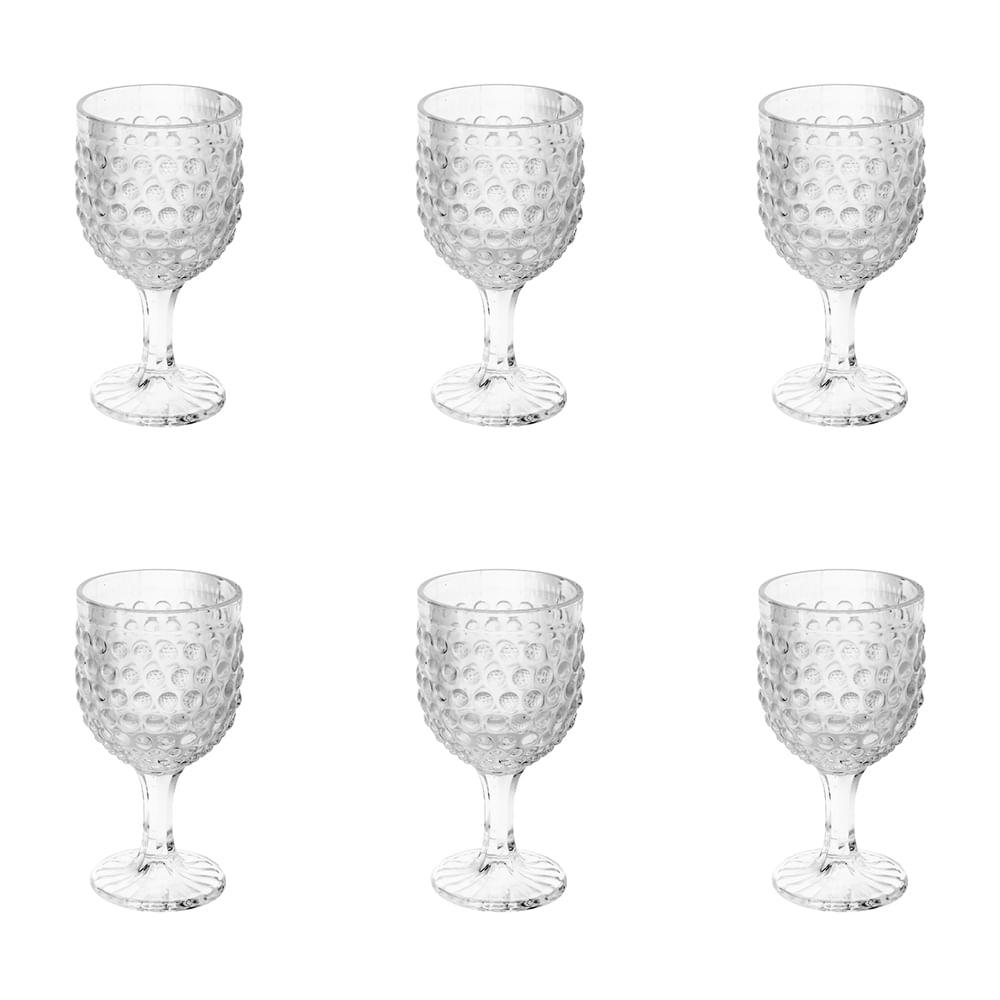 Jogo de taças de vidro para vinho Lyor Bubble 6 peças 260ml incolor