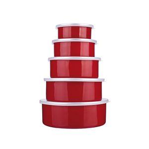 Jogo-de-potes-esmaltado-Euro-Aghata-Colors-5-pecas-vermelho