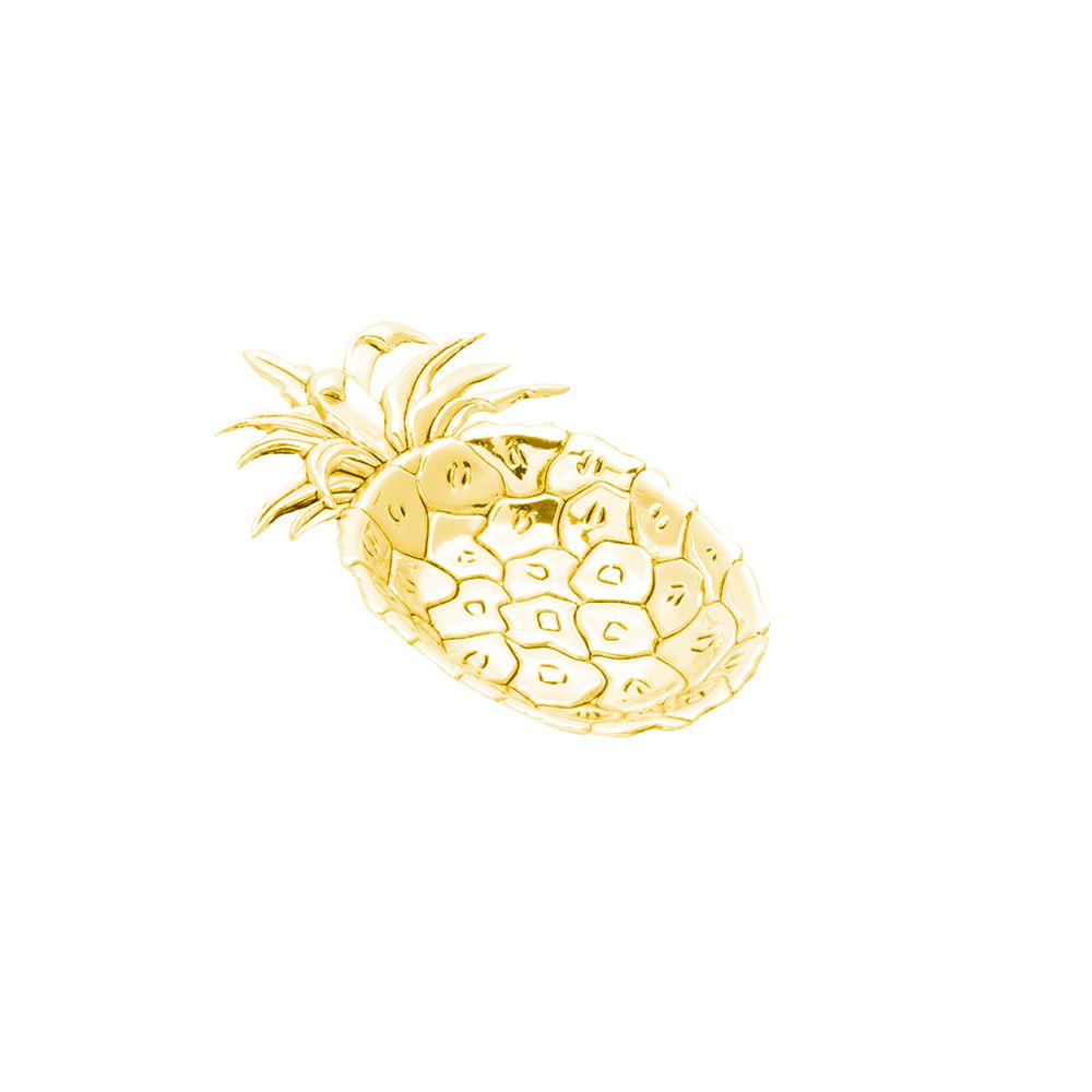 Bandeja retangular em zamac Lyor pineaple 16,5x10cm dourada