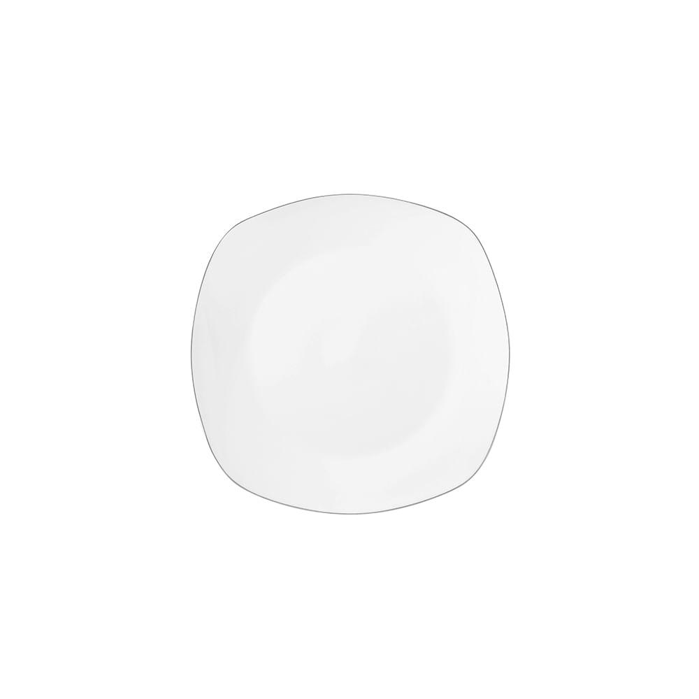 Prato de sobremesa quadrado em porcelana DmBrasil Prata 19cm 4223