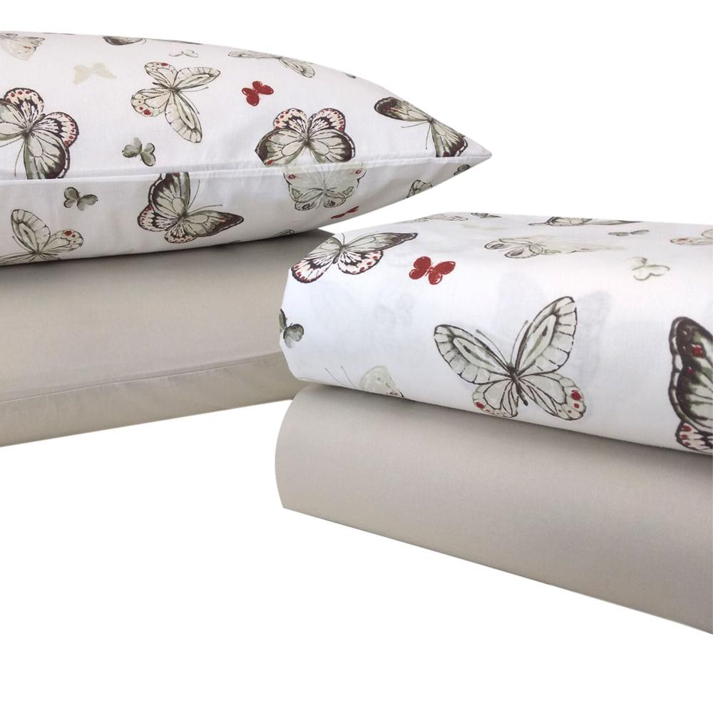 3787034c89 Jogo de lençol 180 fios Premium Linea Butterfly solteiro