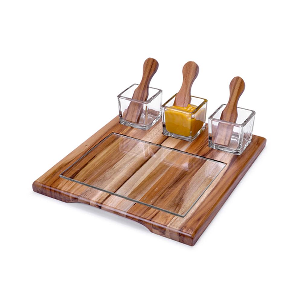 Jogo de petisqueira em madeira Decorglass Teka 25x23cm 8 peças