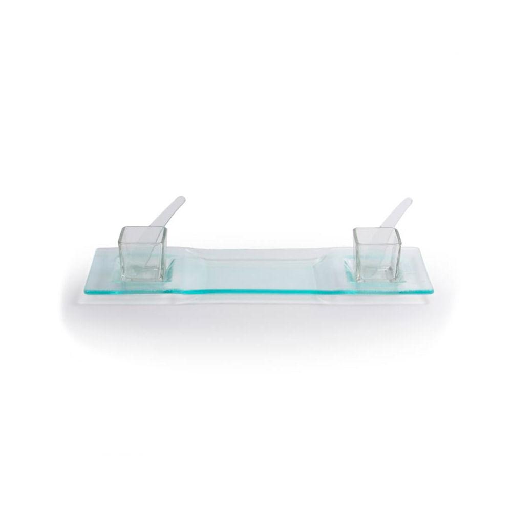 Petisqueira retangular em vidro Decorglass 39cm 5 peças
