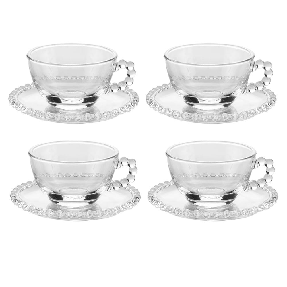 Jogo de xícaras de chá em cristal Wolff Pearl 200ml 4 peças