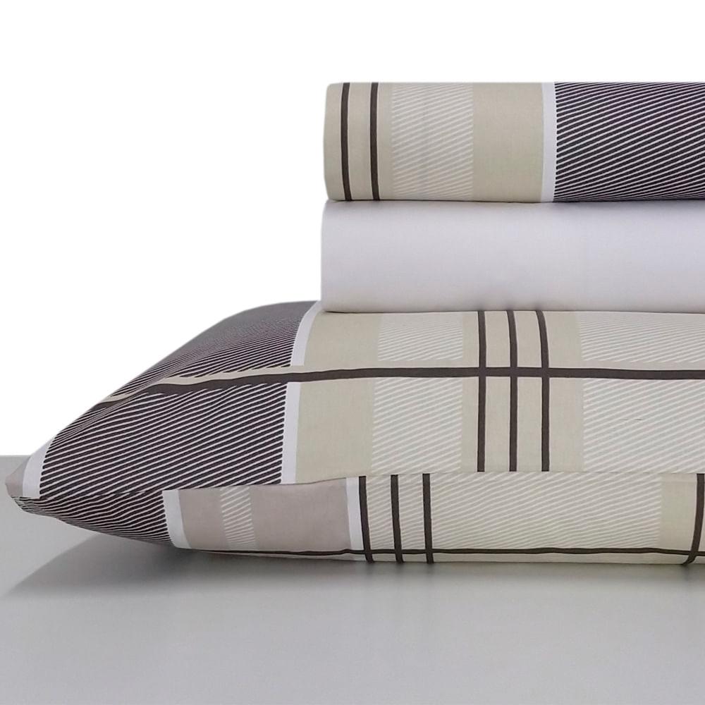 Jogo de lençol duplo com elástico Domani DMI Estampado king 100% algodão