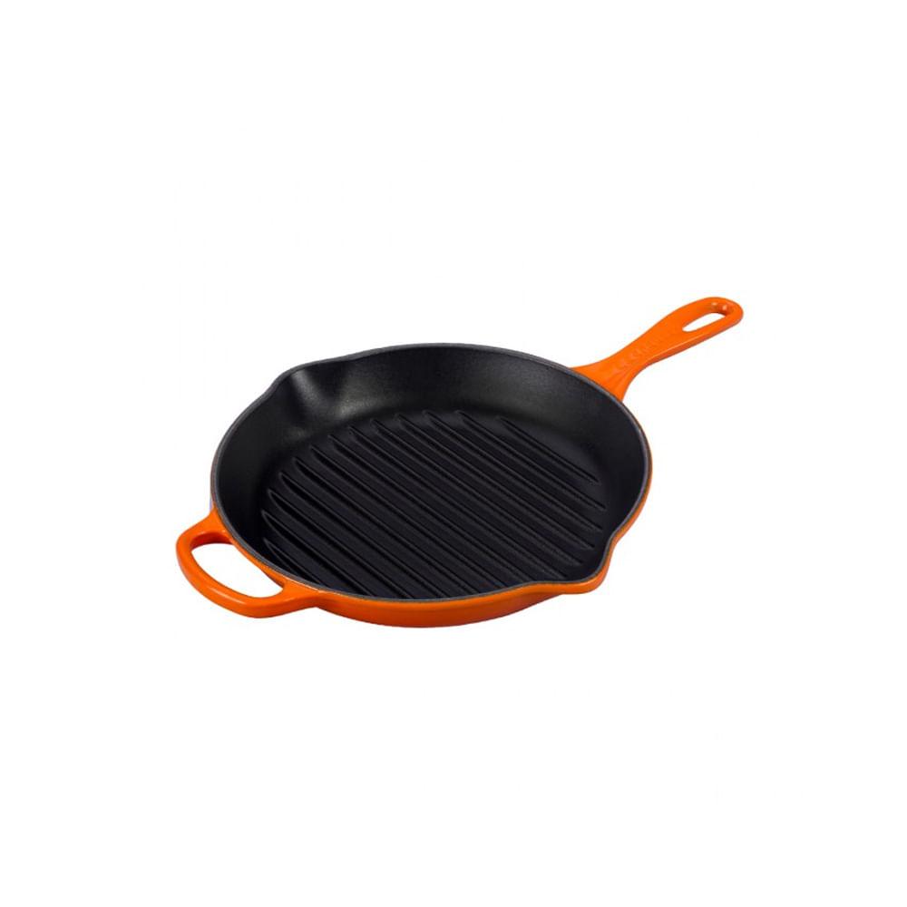 Grelha redonda com alça em ferro Le Creuset Signature 26cm laranja