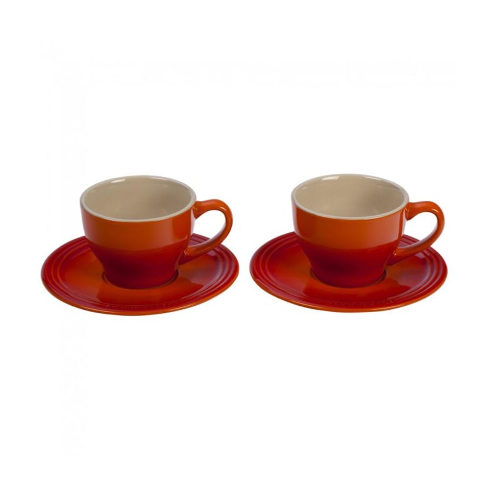 Jogo de xícaras com pires em cerâmica Le Creuset 2 peças laranja