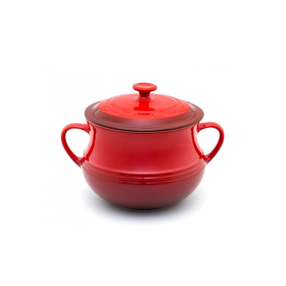 Sopeira com tampa em cerâmica 22cm vermelho