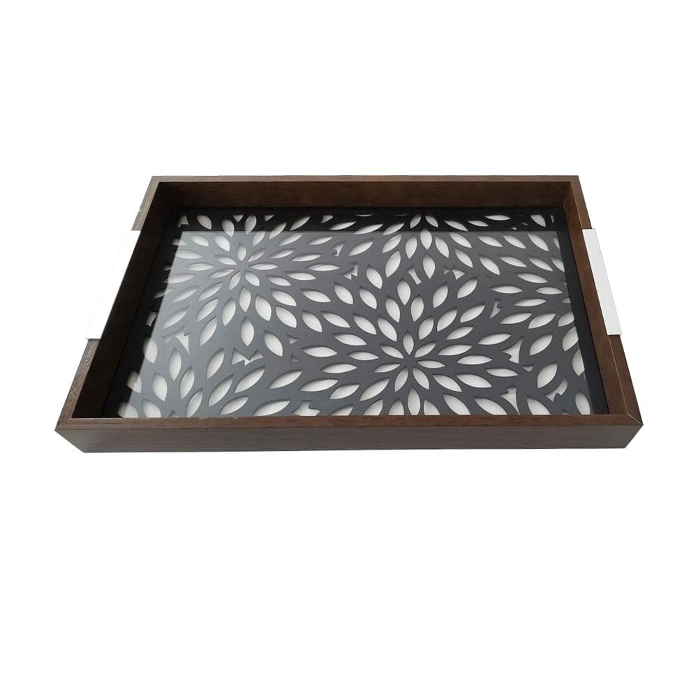 Bandeja em madeira e vidro Woodart Flowers 47x32x5cm preta