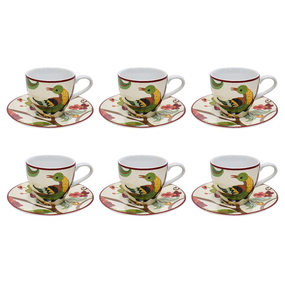 Jogo para café em porcelana L'hermitage Media Red 75ml 12 peças