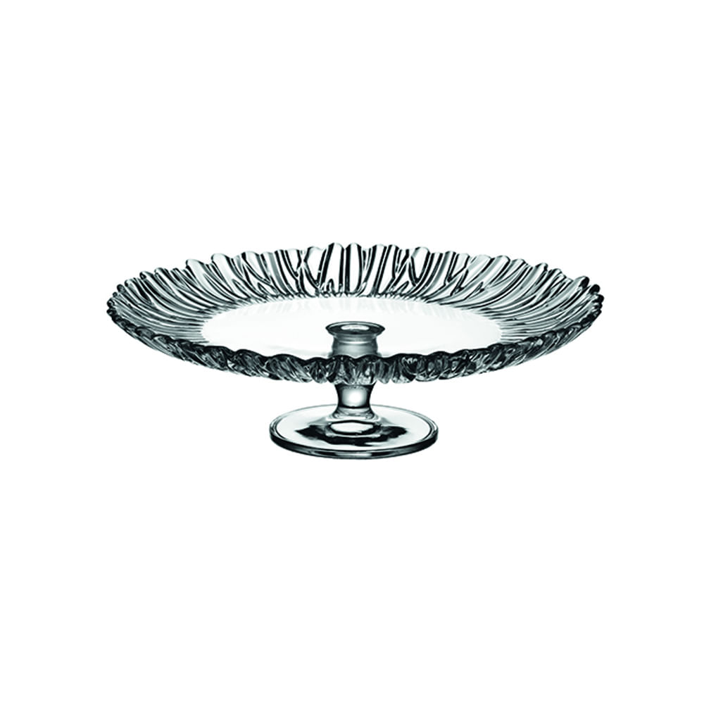 Prato para bolo com pé vidro Pasabahce Aurora 31,5x9,5cm