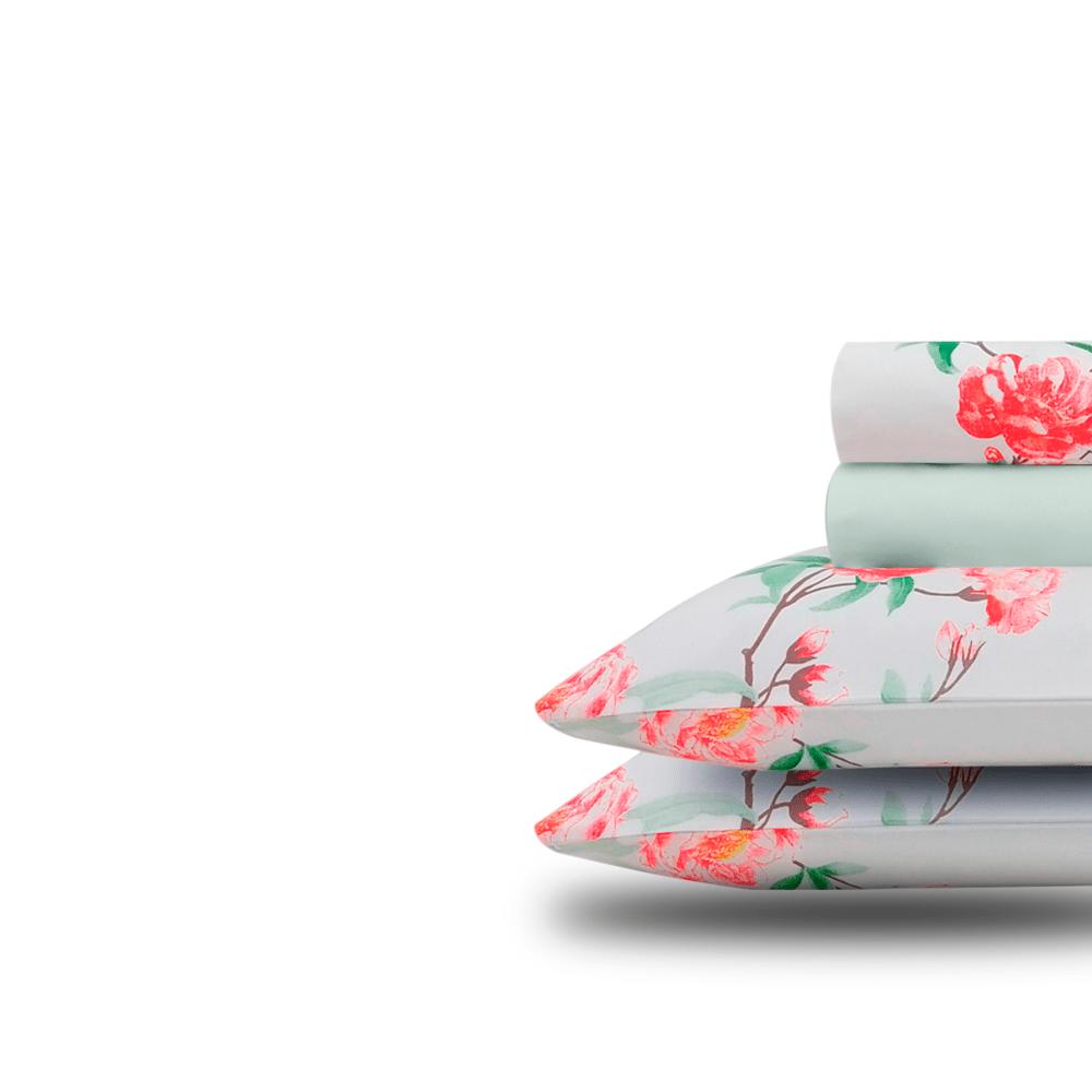 Jogo de lençol  duplo com elástico Domani DMI solteiro estampado 100% algodão  7488