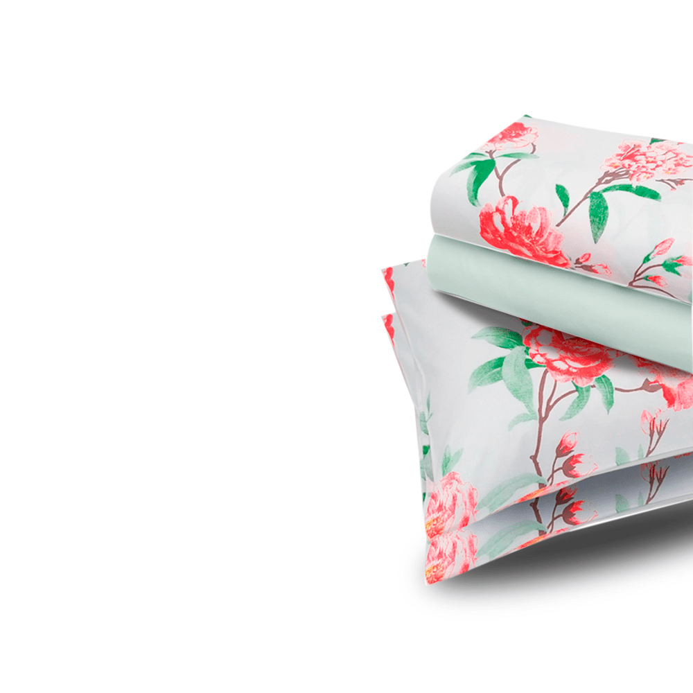 Jogo de lençol  duplo com elástico Domani DMI solteiro estampado 100% algodão  7379-1