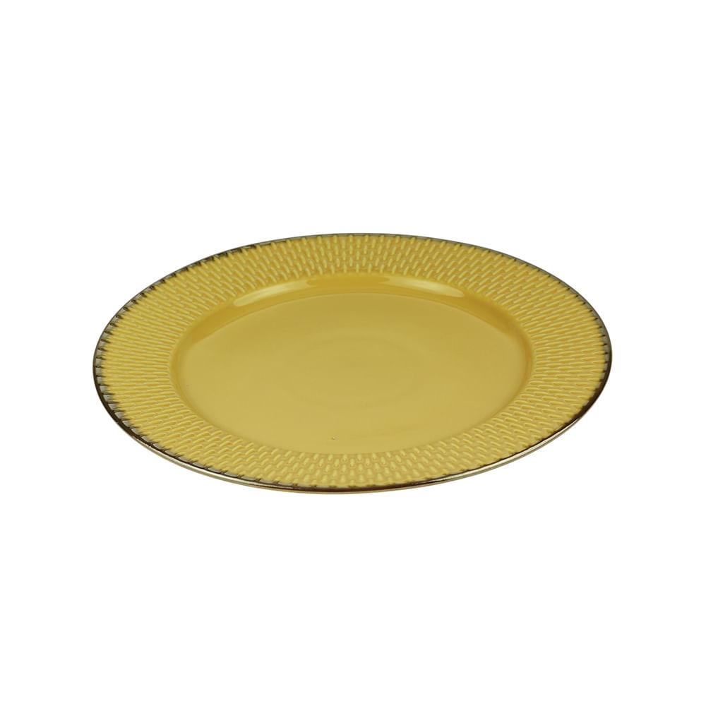 Prato raso em porcelana Wolff Drops 27cm amarelo