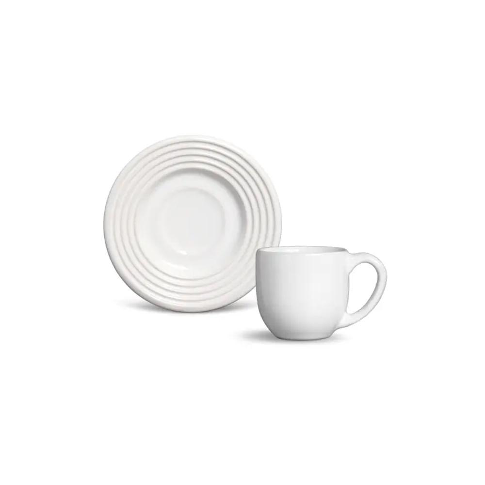 Xícara de café com pires em porcelana Schmidt Arcos 100ml