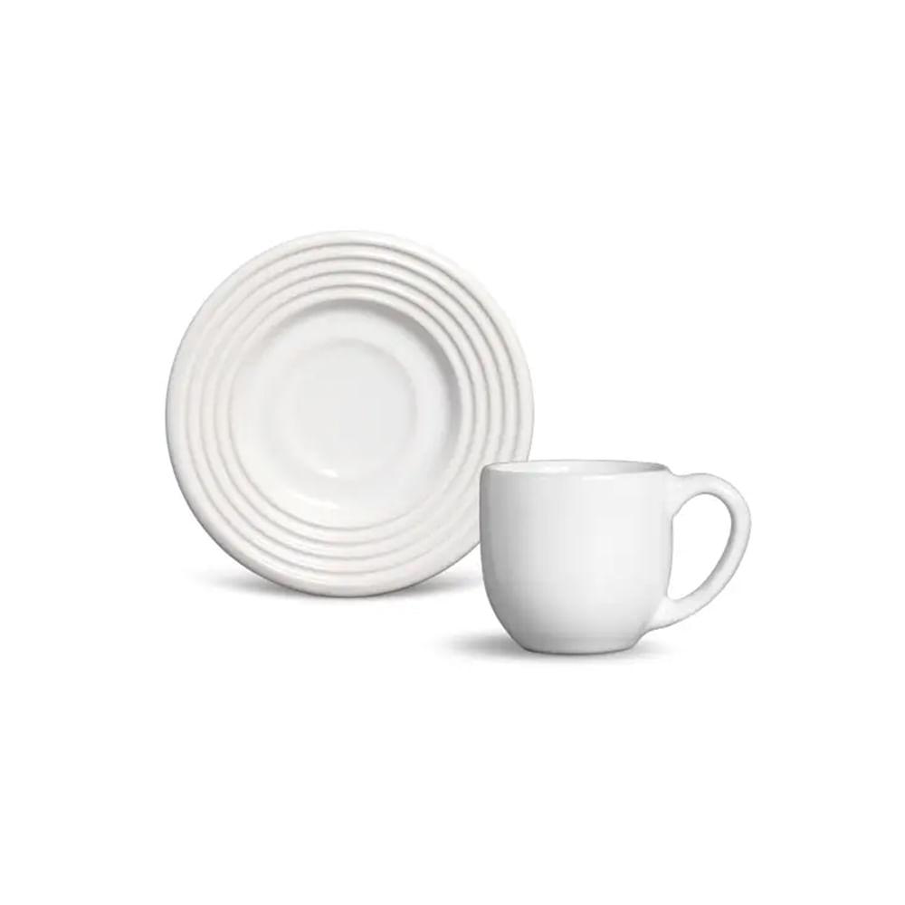 Xícara de chá com pires em porcelana Schmidt Arcos 200ml