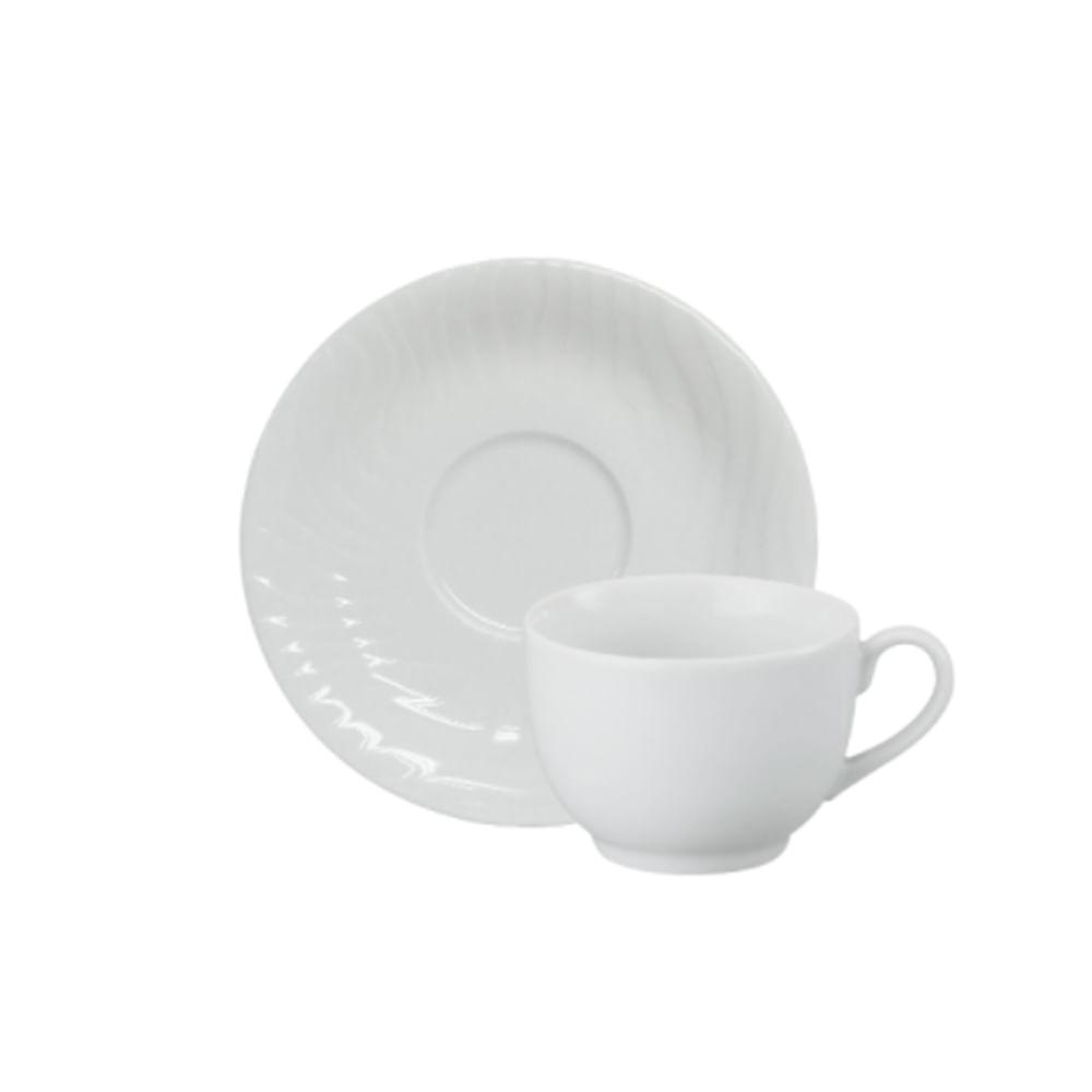 Xícara de chá com pires em porcelana Schmidt Luiza 200ml