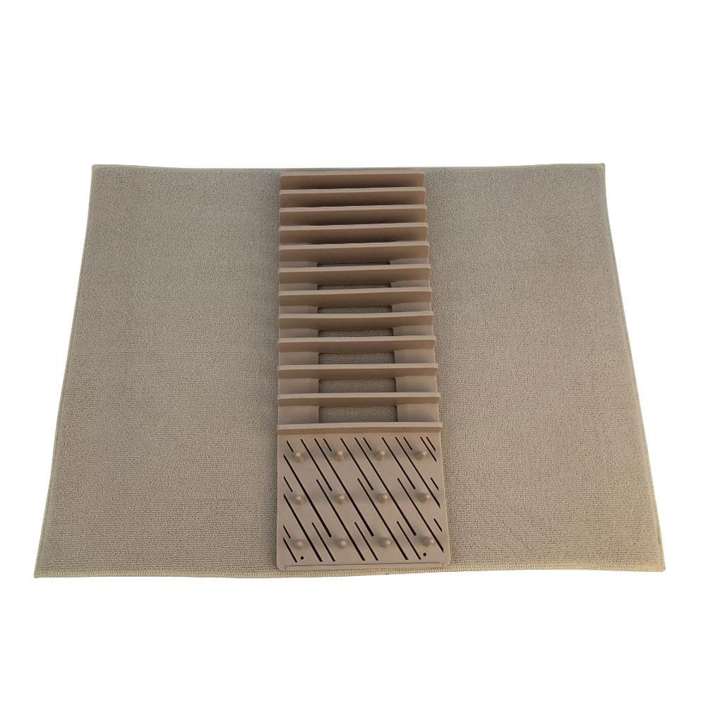 Escorredor de louça com tapete Hudson Home 44x16,7cm bege