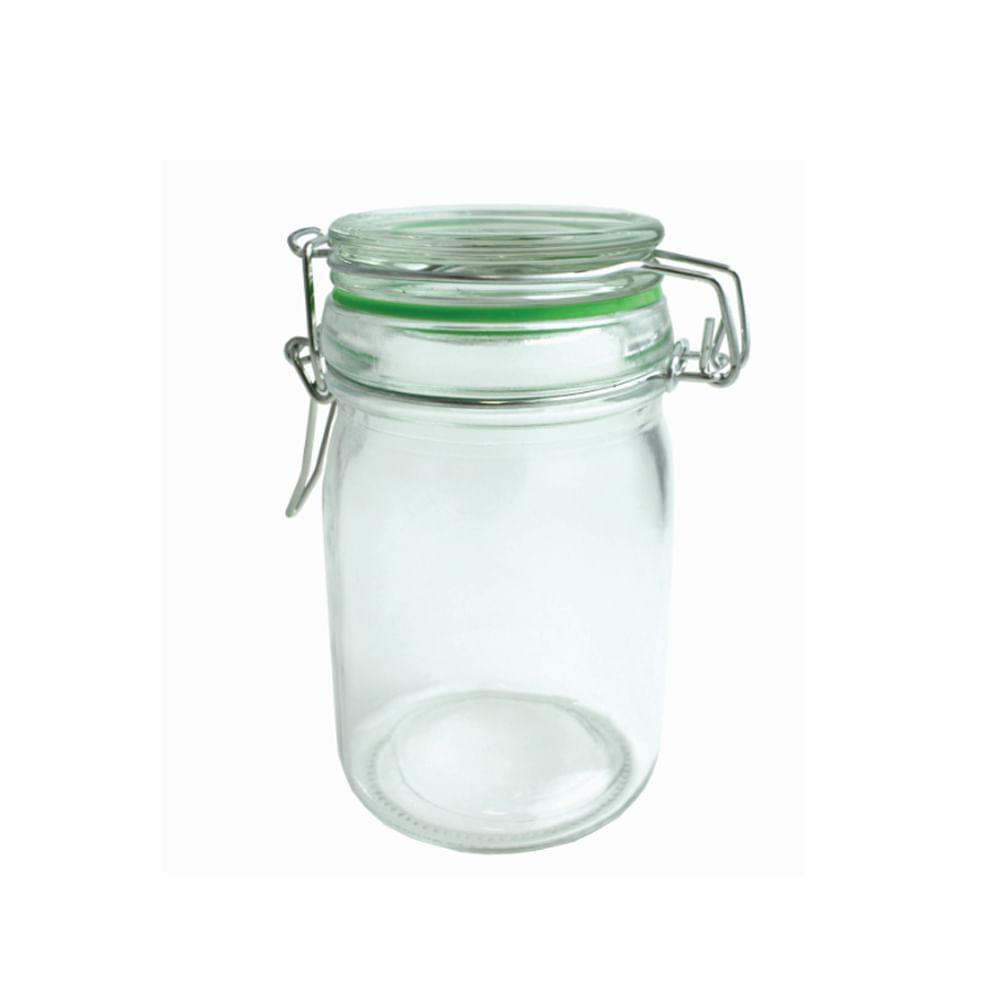 Pote em vidro com tampa e trava Fackelmann 250ml verde