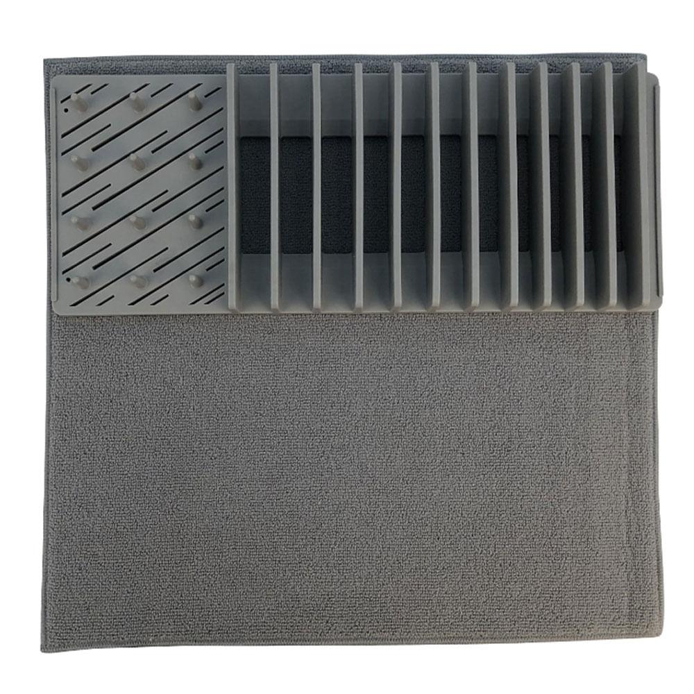 Escorredor de louça em plástico Hudson Home 60x45cm cinza