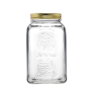 Pote-em-vidro-com-tampa-Pasabahce-Homemade-15L-dourado