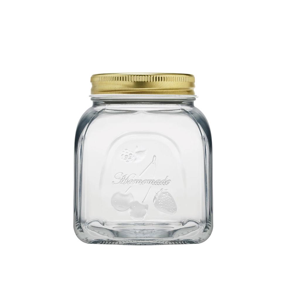 Pote em vidro com tampa Pasabahce Homemade 500ml dourado