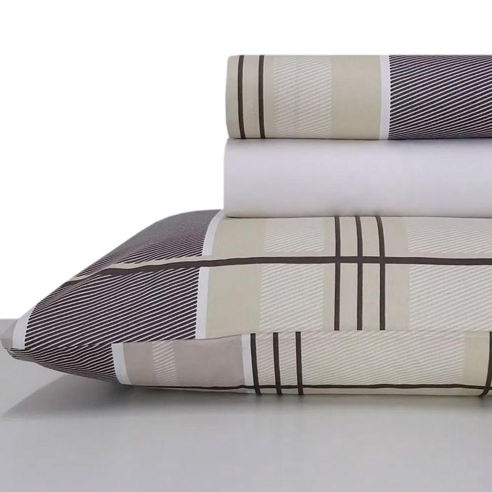 Jogo de lençol duplo com elástico Domani DMI Estampado solteiro 100% algodão